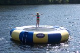 our water trampoline at our main docks near our quality inn, pet friendly resort ontario, otter lake resort. parry sound hotel includes cottages cottages and pet friendly accommodations